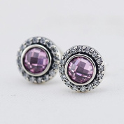 DIY fits European Jewellery 925 Sterling Silver Brilliant Lagacy Earring with Pink Cubic Zirconia