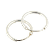 Fashion 925 Sterling Silver High Polished Plated Endless Hoop Dangle Earring Studs - 12mm