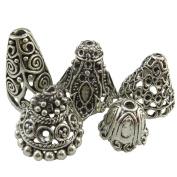 5pcs Mix Antique Retro Jewellery Filigree Silver Leaf Bell Shape Tassel Ends Cap