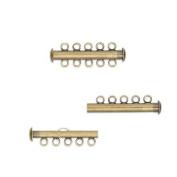 10 Multi Strand Slide Lock Tube Clasps w/Loop Rings for Stranded Designs