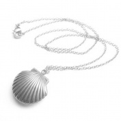 Adecco LLC Sea Shell Locket, Mermaid Valentine Necklace, Beach Locket, Gold Tone Brass, Little Shell Locket, Nautical Jewellery