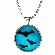 Halloween Dark black bats Glowing necklace,Glowing Halloween pendant,Halloween Glowing Jewellery,Glowing Necklace,Glow in the Dark