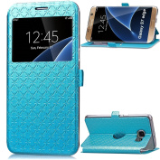 Galaxy S7 Edge Case,Inspirationc® Smart Unlock Smart Touch Metal Answer Calls Folio Flip PU Leather Wallet Pouch Case with Stand for Samsung Galaxy S7 Edge (2016)--Blue