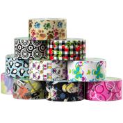 10 Rolls Printed Duck Brand Duct Tape Bulk Lot Patterns Arts Craft Decorative DIY 60yds Punk Penguin