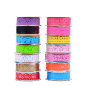 Crazy Cart 10pcs Lace Flower Clear DIY Decorative Sticky Paper Masking Adhesive Tape