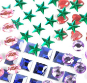 Mini Self-Adhesive Back Jewels Multi-Colour Assorted Gems Rhinestone, Hearts, Diamonds, Stars Stickers for Arts & Crafts Projects, Decorations, Invitations (500 Assorted Pieces) by Super Z Outlet