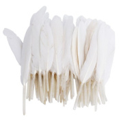 Ewandastore 100pcs 4-6inch/10-15cm White Home Decor Decorating Natural Goose Feathers for Craft Wedding Party