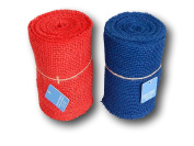 Patriotic Bright Colours Burlap Ribbon Roll Set - Red and Blue