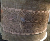 Burlap with Pink Lace Wired Ribbon - 3 Yards 6.4cm wide