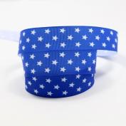 mdribbons 2.2cm 50 Yards Star Print Blue Colour Grosgrain Ribbon Design 3