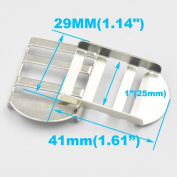 "Bluemoona 20 Pcs - Metal Tension Lock Triglides 1"" 25mm Slides 4 Webbing Strapping Buckles Adjustor Nickel"