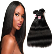 Fabeauty 7a Unprocessed Brazilian Virign Human Hair Straight Wave Hair Extension Mixed Length 3 Bundles