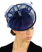 NYFASHION101 Cocktail Fashion Sinamay Fascinator Hair Clip Design & Mesh - Navy