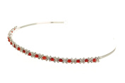 Simple Elegant Bridal Bridesmaid Flower Girl Headband Tiara - Red Crystal Beads