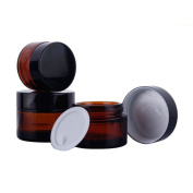 2pcs 20/30ML Amber Glass Refillable Empty Cosmetics Cream Jar Jars Face Cream Lip Balm Storage Container Containers Pot Bottles with Black Lipds