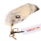 URSFUR Fluffy Corsac Fox Tail Fur Handbag Accessories Cosplay Toy Key Chain Ring