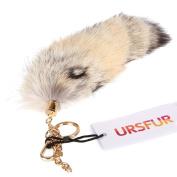 URSFUR Fluffy Corsac Fox Tail Fur Handbag Accessories Cosplay Toy Key Chain Ring