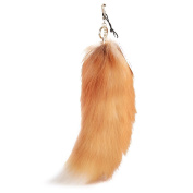 URSFUR Fluffy Golden Fox Tail Fur Cosplay Toy Handbag Accessories Key Chain Hook