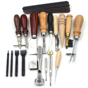 Leather Boy 1set(18pcs) Leather Carft Punch Tools Kit Stitching Carving Working Sewing Saddle Groover