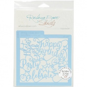 Rebecca Baer Stencil 15cm x 15cm -Birthday Wishes