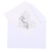 Pack of White Paper Recycled Wedding Party Thank You Heart Cards with Envelops