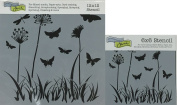 The Crafter's Workshop Set of 2 Stencils - Butterfly Meadow 30cm x 30cm Mini 15cm x 15cm - Includes 1 each TCW197 and TCW197s - Bundle 2 Items