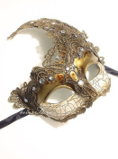 Venetian Goddess Masquerade Mask Made of Resin, Paper Mache Technique with High Fashion Macrame Lace & Rhinestones [Gold]