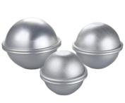 MelonBoat Bath Bomb Moulds Fizzies DIY Set of 3, Cake Pan Moulds 6 Hemispheres, (5.1cm - 1cm , 2.5cm - 1.6cm , 1.9cm ), Aluminium