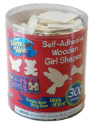 Self-Adhesive Wood Craft Shapes - Butterfly, Birds, Hearts, Rainbow, More! - 300 Pc