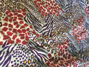 Multi Colour Leopard Print Velvet Spandex Fabric - Sold By The Yard - 150cm