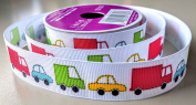 Cartoon Car Pattern Celebrate It 2.2cm . X 4.6m 100% Polyester Ribbon - Great for Any Occasion!