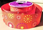 Orange Burst Pattern Celebrate It 3.8cm . X 3.7m 100% Polyester Ribbon - Great for Any Occasion!