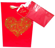 Flower Heart Gift Bag with Tissue