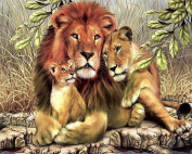 Rihe Embroidery DIY Kit Rhinestone Painting Art Handwork Square Diamond Mosaic Painting Full Drill Lion and Leopard Home Decoration