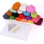 180G 18 Colours Pure Wool Felt Craft Tops Felting Set Needle Kit Starter Felted Mat