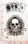 Master Skull Ace Card Old School Temporary Waterproof Tattoo Art Body Stickers Removable Fashion Henna Tattoo Inspired Sticker Gifts by Magic movement