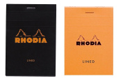 Pack of 2 RHODIA # 12 Notepad 3-3/8 x 4-3/4 Lined ORANGE and black