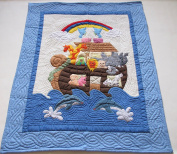 Hawaiian quilt crib baby comforter blanket, wall hanging hand quilted and machine embroidered Noah's Ark