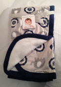 Blankets and Beyond Navy and Grey Baby Blanket with Elephant and Owl Design
