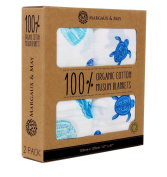 Organic Muslin Swaddle Blanket - Margaux & May - X Large Swaddling Blankets For The Fashion Conscious Mother - Turtles & Sea Shells