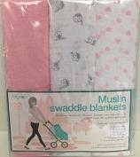 Lollypop Pink, Birds & Hearts Muslin Swaddle Blankets