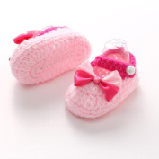 Franterd Baby Girls Knit Shoes Crochet Handmade Soft Bottom Walkers Prewalker