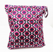 Purple diamond double zippered waterproof reusable washable two pocket wet/dry swimsuit nappy bag