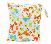 Animal double zippered waterproof reusable wet/nappy bag