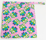 large pink owl double zippered waterproof reusable wet/nappy bag