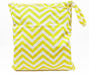 Yellow Chevron double zippered waterproof reusable wet/nappy bag