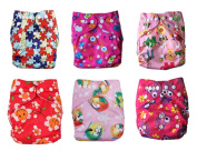 Nooya Baby Washable Reusable Cloth Nappies,breathable, Adjustable Snap, 6pcs Pack Pocket Cloth Nappy with 2 Inserts Each,6PCS + 12 inserts
