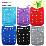 Cloth nappies, ANGEL LOVE Baby Reusable Washable All in One Size Pocket Nappies, Adjustable Snap, 6 pcs Pack Cloth Nappy with 1 Insert Each, 6 Pcs + 6 Inserts 13ZH13