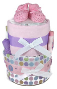 Sunshine Gift Baskets - Pink Nappy Cake Gift Set with Pink Booties