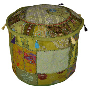 Handmade Embroidered Decorative Floor Cushion Cover Round Footstool Cover 18 x 46cm x 36cm